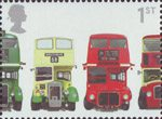 Buses : Classic British Double-Deckers 1st Stamp (2001) AEC Regent III RT Type, Bristol KSW5G Open-top, AEC Routemaster and Bristol Lodekka FSF6G