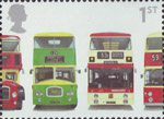 Buses : Classic British Double-Deckers 1st Stamp (2001) Bristol Lodekka FSF6G, Leyland Titan PD3/4, Leyland Atlantean PDR1/1 and Daimler Fleetline CRG6LX-33