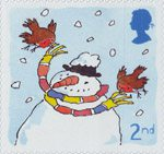 Christmas 2001 2nd Stamp (2001) Robins with Snowman