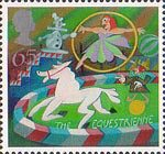 Circus 65p Stamp (2002) Equestrienne