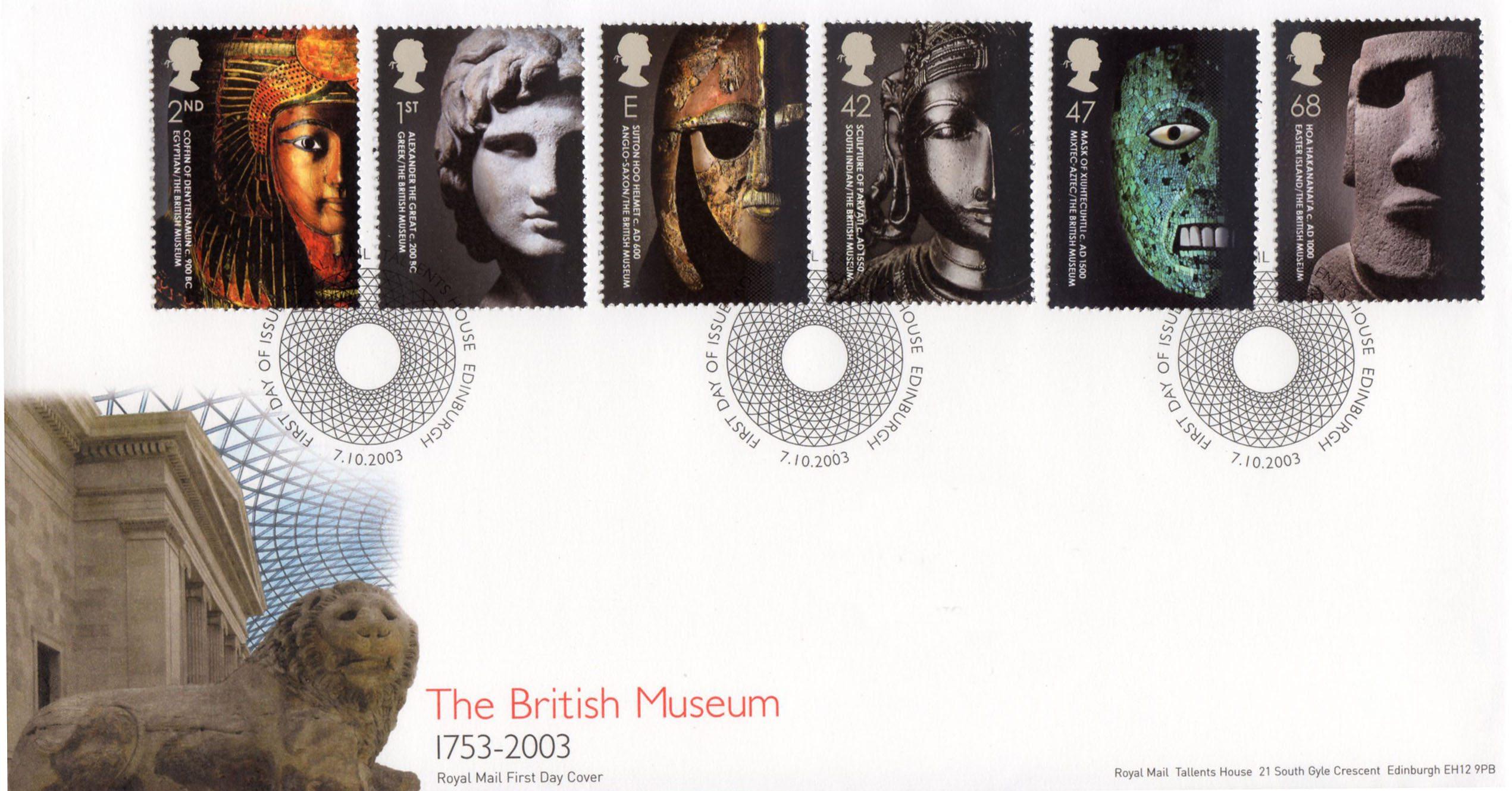 unused mint 2003 British Museum British stamp set 250 years masks Sutton Hoo AlexanderScan enlarged. collect GB craft art supply frame