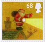 Christmas 2004 68p Stamp (2004) In Fog on edge of roof with Torch