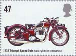 Motorcycles 47p Stamp (2005) Triumph Speed Twin, Two Cylinder Innovation (1938)
