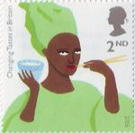 Changing Tastes in Britain 2nd Stamp (2005) African Woman eating Rice