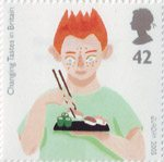 Changing Tastes in Britain 42p Stamp (2005) Boy eating Sushi