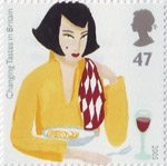 Changing Tastes in Britain 47p Stamp (2005) Woman eating Pasta