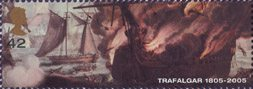Trafalgar 42p Stamp (2005) British Cutter Entrepeante attempting to rescue Crew of burning French Achille