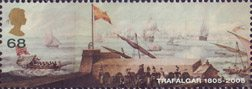 Trafalgar 68p Stamp (2005) Franco/Spanish Fleet putting to Sea from Cadiz