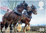 Working Horses 88p Stamp (2014) Dray Horses