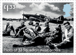 The Battle of Britain £1.33 Stamp (2015) Pilots of 32 Squadron await orders