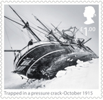 Shackleton and the Endurance Expedition £1.00 Stamp (2016) Trapped in pressure crack - October 1915