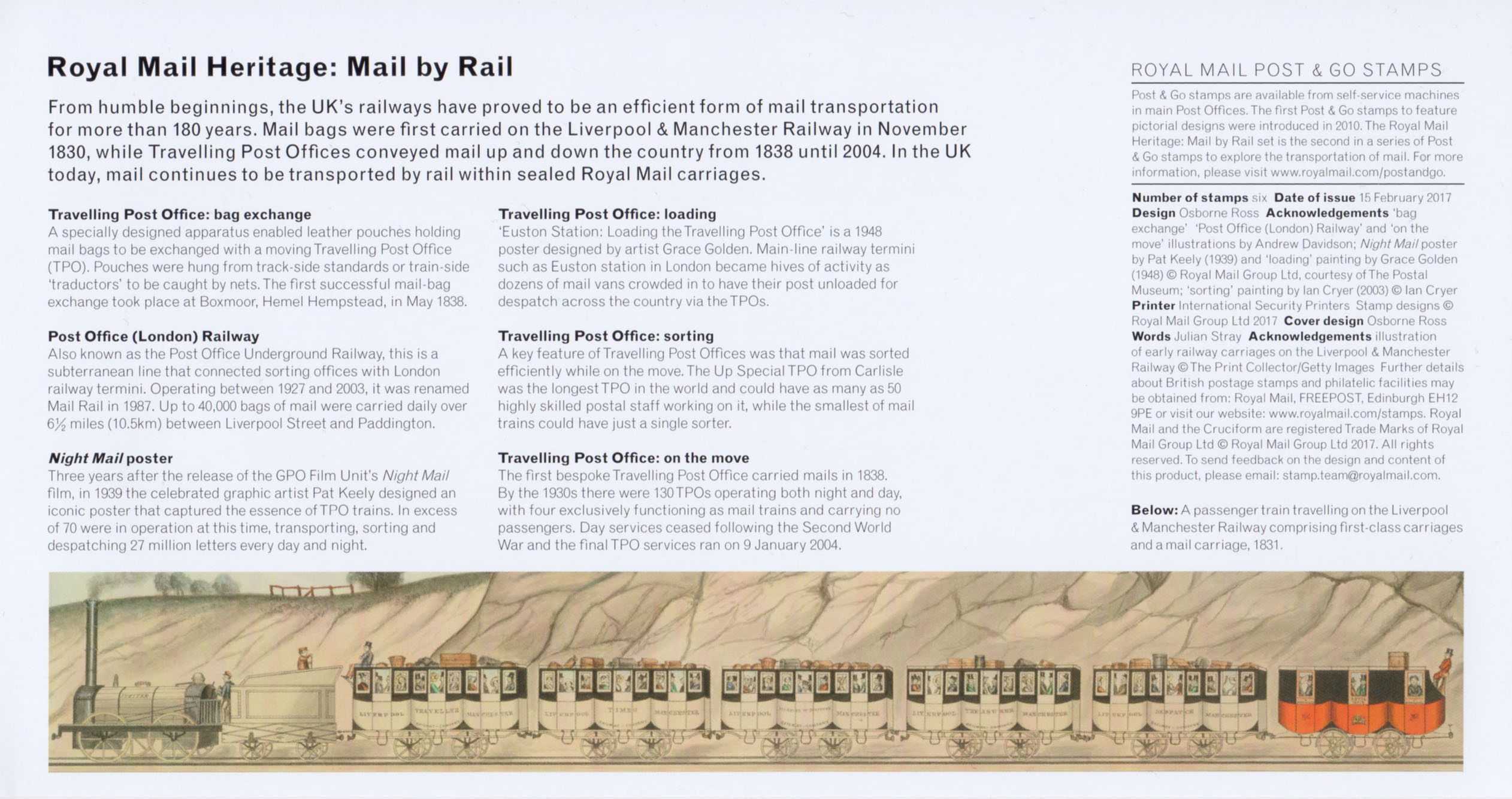 Post & Go Royal Mail Heritage Mail by Rail 2017 Collect GB