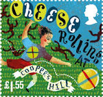 Curious Customs £1.55 Stamp (2019) Cheese Rolling