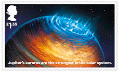 Visions of the Universe £1.55 Stamp (2020) Jupiters auroras
