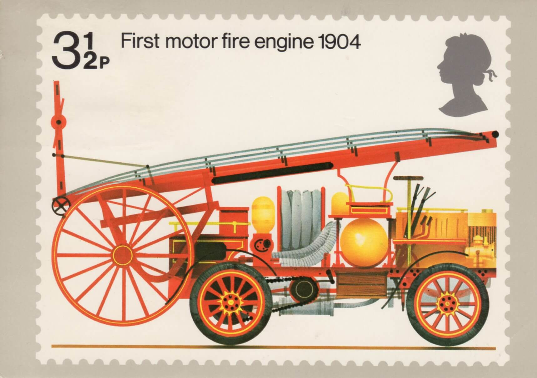 Fire engines unused mint British postage stamps set 1974 Crafts art frame collect Fire-engines  1766 to 1904 Fire service scan enlarged